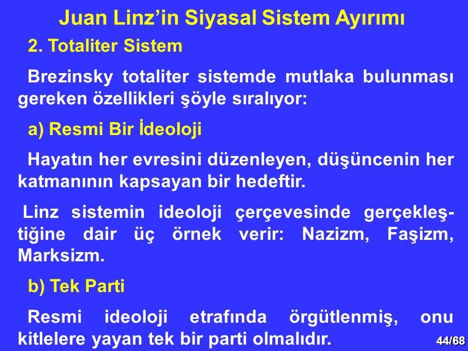 44/68 2. Totaliter Sistem Brezinsky totaliter sistemde mutlaka bulunması gereken özellikleri şöyle sıralıyor: a) Resmi Bir İdeoloji Hayatın her evresi