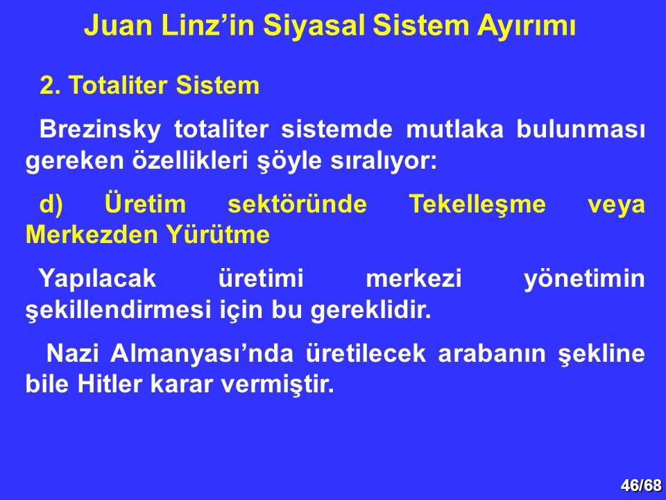 46/68 2. Totaliter Sistem Brezinsky totaliter sistemde mutlaka bulunması gereken özellikleri şöyle sıralıyor: d) Üretim sektöründe Tekelleşme veya Mer