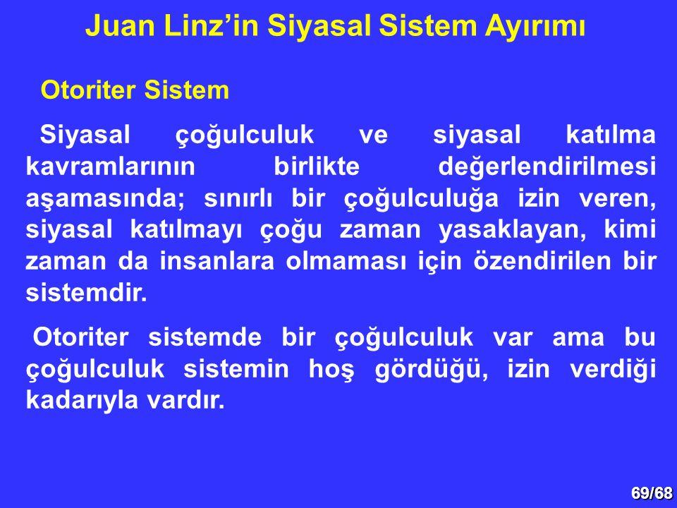 69/68 Otoriter Sistem Siyasal çoğulculuk ve siyasal katılma kavramlarının birlikte değerlendirilmesi aşamasında; sınırlı bir çoğulculuğa izin veren, s