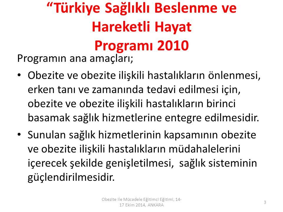 """""""Türkiye Sağlıklı Beslenme ve Hareketli Hayat Programı 2010 Programın ana amaçları; Obezite ve obezite ilişkili hastalıkların önlenmesi, erken tanı ve"""