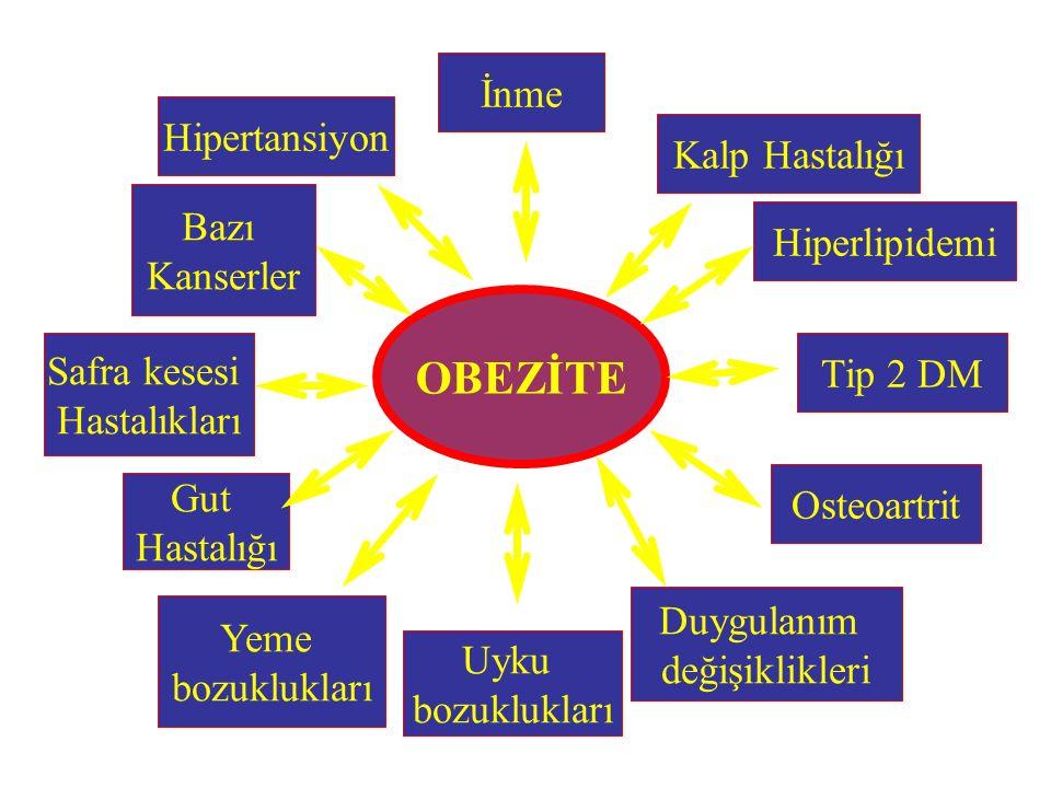 Hipertansiyon OBEZİTE İnme Kalp Hastalığı Hiperlipidemi Tip 2 DM Duygulanım değişiklikleri Osteoartrit Uyku bozuklukları Yeme bozuklukları Gut Hastalı