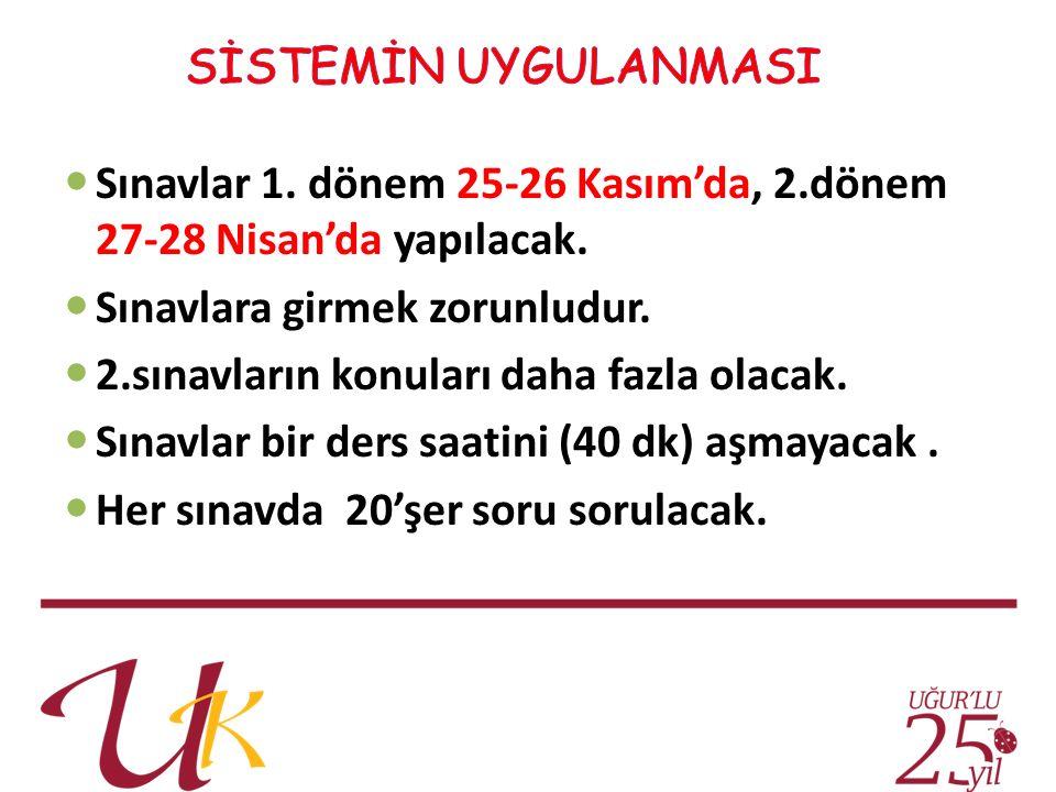 Sınavlar 1. dönem 25-26 Kasım'da, 2.dönem 27-28 Nisan'da yapılacak.