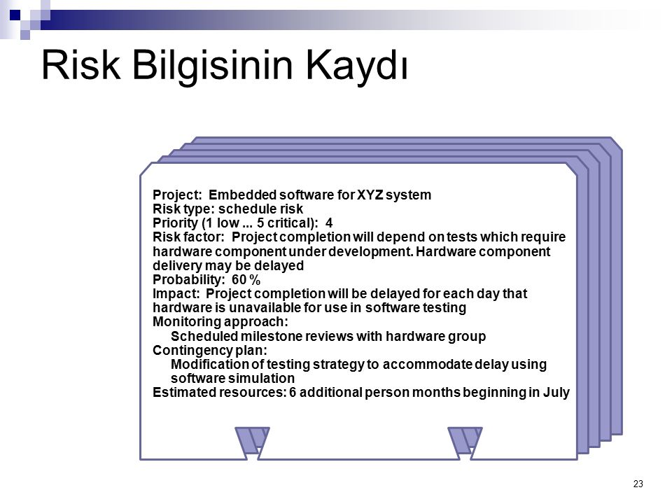 23 Project: Embedded software for XYZ system Risk type: schedule risk Priority (1 low... 5 critical): 4 Risk factor: Project completion will depend on