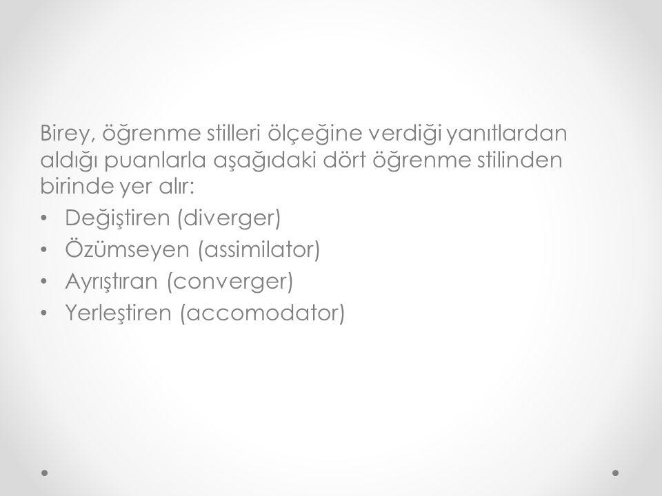 Birey, öğrenme stilleri ölçeğine verdiği yanıtlardan aldığı puanlarla aşağıdaki dört öğrenme stilinden birinde yer alır: Değiştiren (diverger) Özümseyen (assimilator) Ayrıştıran (converger) Yerleştiren (accomodator)