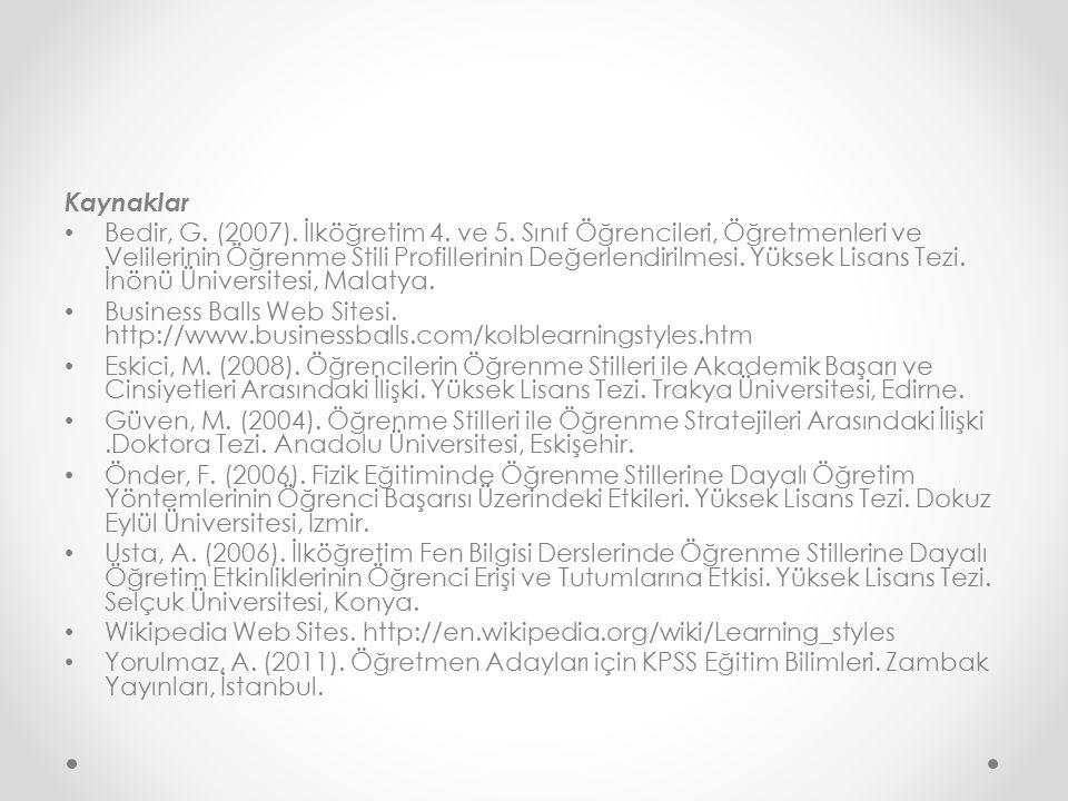 Kaynaklar Bedir, G.(2007). İlköğretim 4. ve 5.