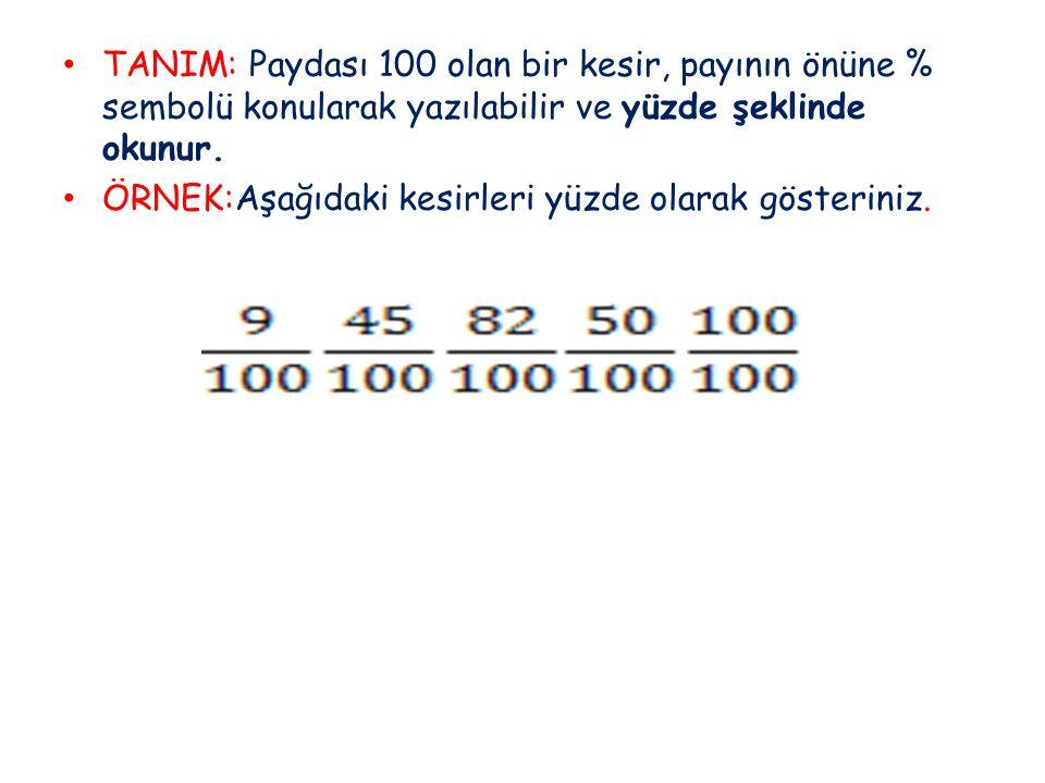 TANIM: Paydası 100 olan bir kesir, payının önüne % sembolü konularak yazılabilir ve yüzde şeklinde okunur. ÖRNEK:Aşağıdaki kesirleri yüzde olarak göst
