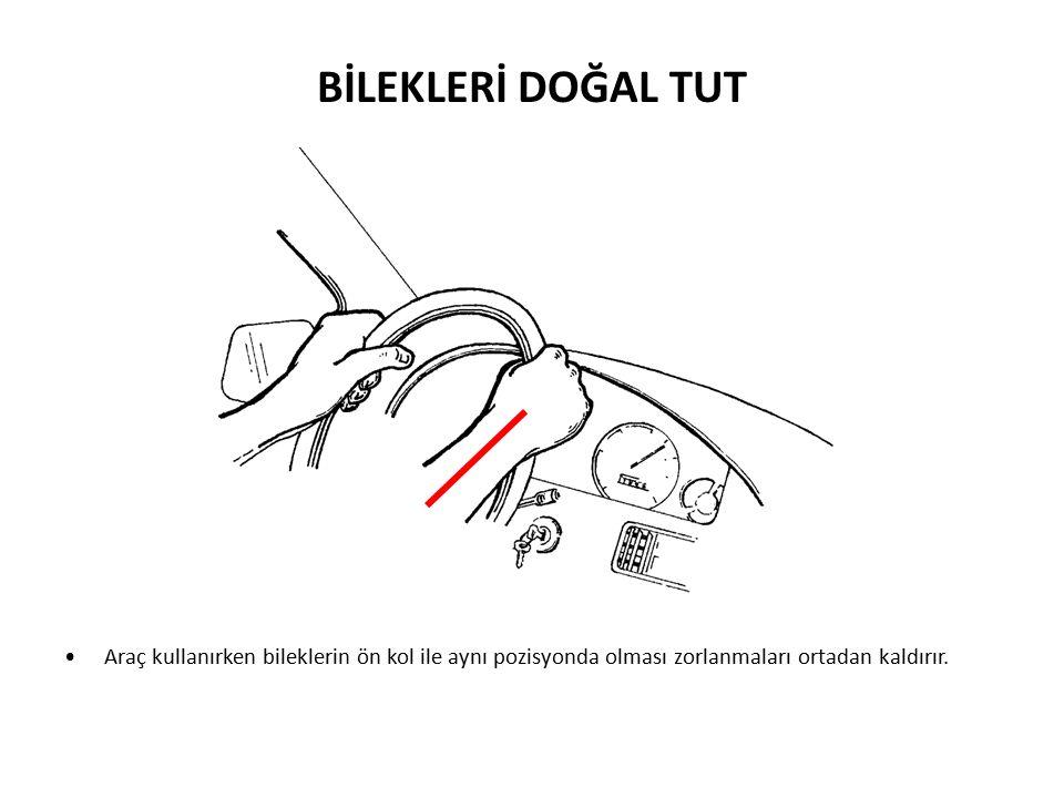 Araç kullanırken bileklerin ön kol ile aynı pozisyonda olması zorlanmaları ortadan kaldırır.