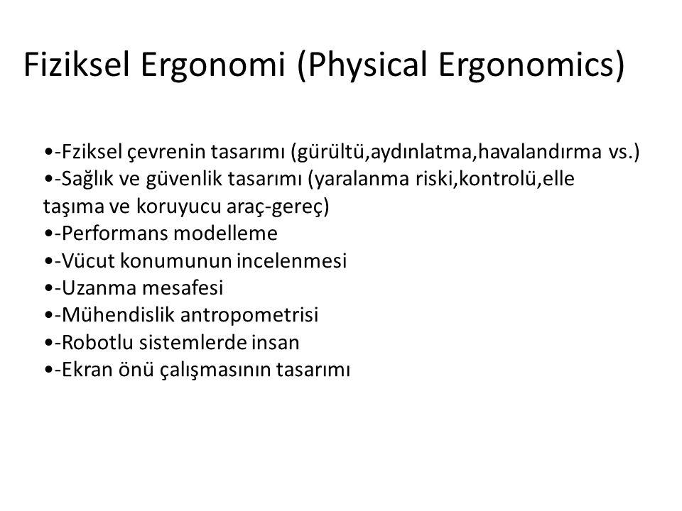 Fiziksel Ergonomi (Physical Ergonomics) -Fziksel çevrenin tasarımı (gürültü,aydınlatma,havalandırma vs.) -Sağlık ve güvenlik tasarımı (yaralanma riski,kontrolü,elle taşıma ve koruyucu araç-gereç) -Performans modelleme -Vücut konumunun incelenmesi -Uzanma mesafesi -Mühendislik antropometrisi -Robotlu sistemlerde insan -Ekran önü çalışmasının tasarımı
