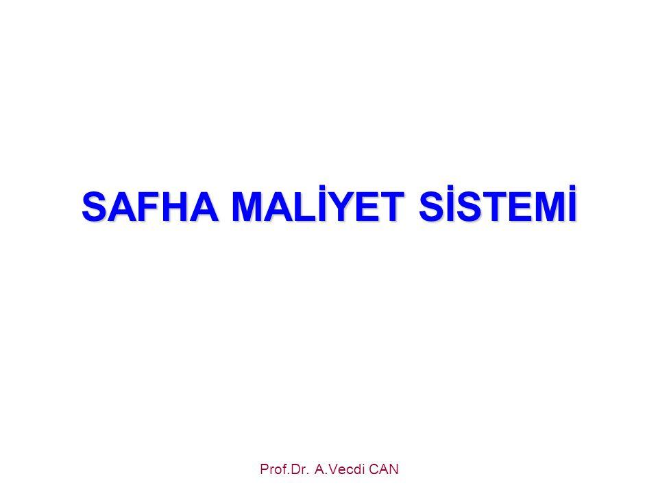 SAFHA MALİYET SİSTEMİ Prof.Dr. A.Vecdi CAN