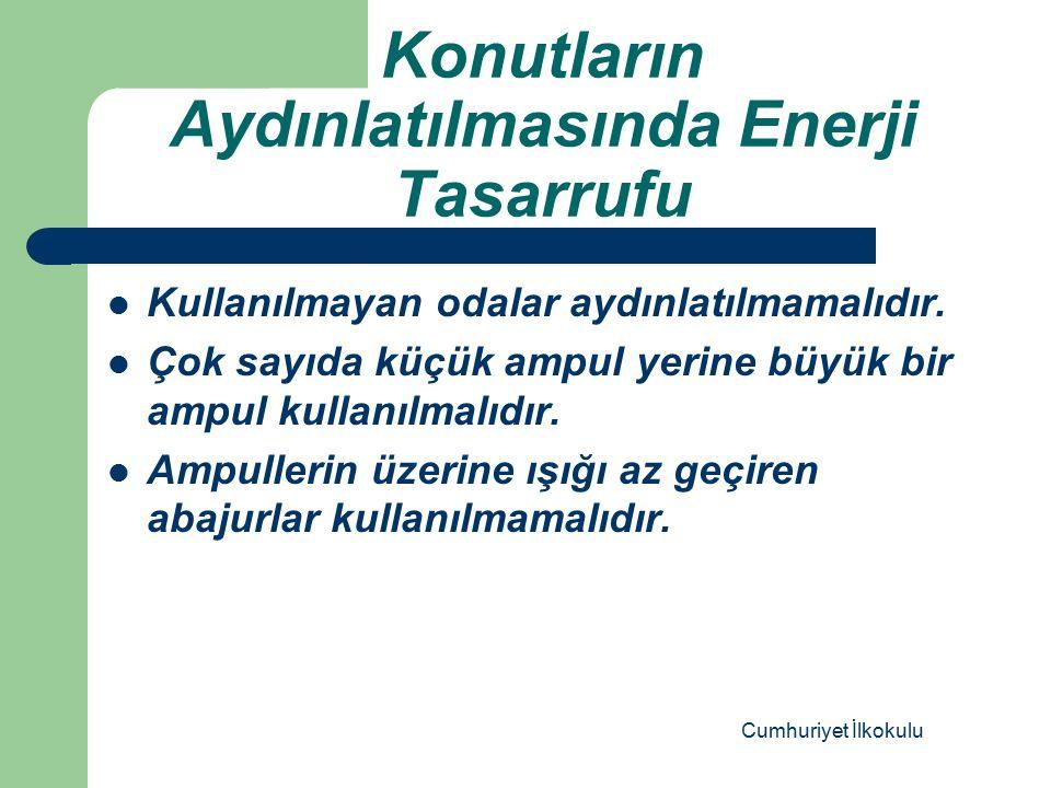 Konutların Aydınlatılmasında Enerji Tasarrufu Kullanılmayan odalar aydınlatılmamalıdır.