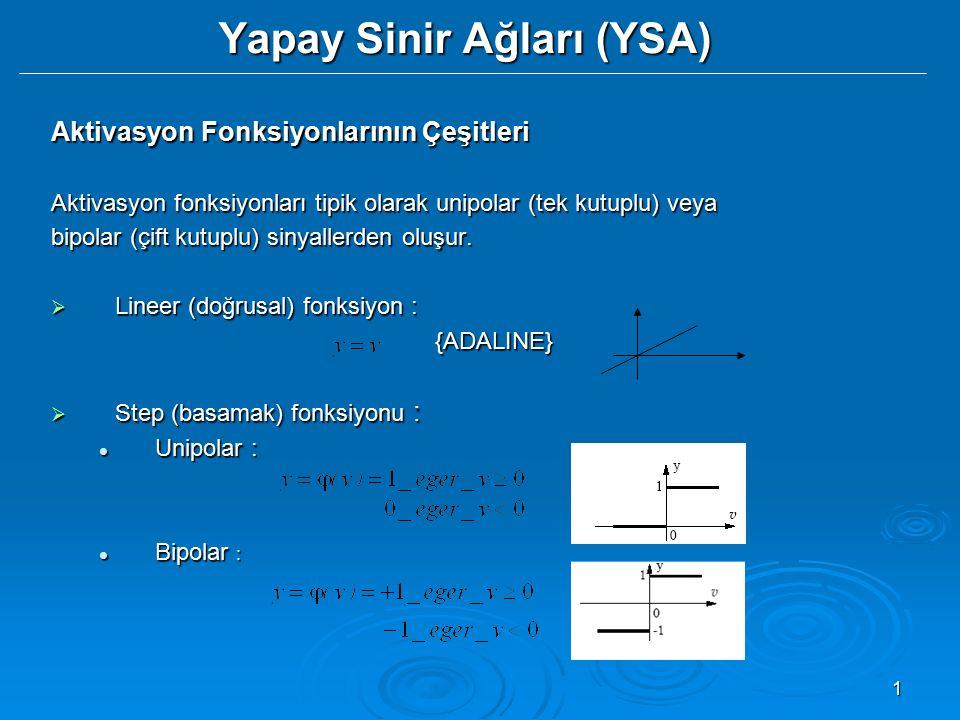 1 Yapay Sinir Ağları (YSA) Aktivasyon Fonksiyonlarının Çeşitleri Aktivasyon fonksiyonları tipik olarak unipolar (tek kutuplu) veya bipolar (çift kutup