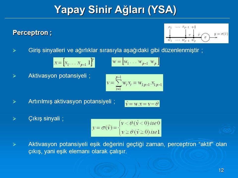 12 Yapay Sinir Ağları (YSA) Perceptron ;   Giriş sinyalleri ve ağırlıklar sırasıyla aşağıdaki gibi düzenlenmiştir ;   Aktivasyon potansiyeli ;  
