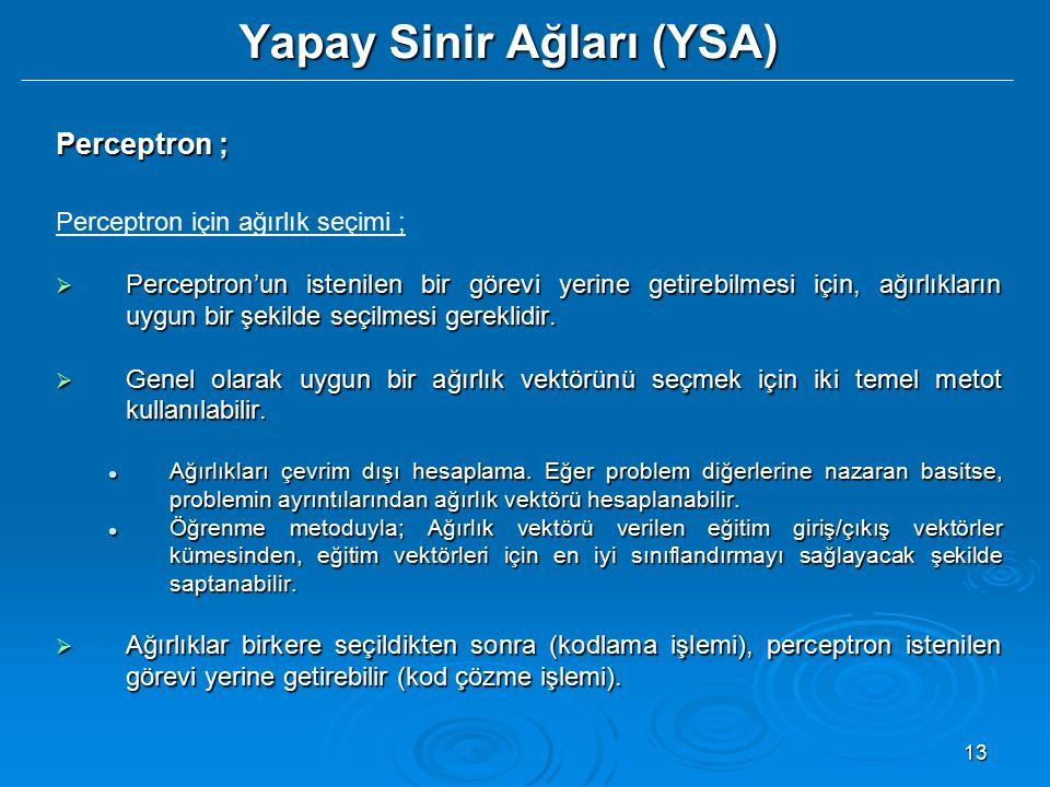 13 Yapay Sinir Ağları (YSA) Perceptron ; Perceptron için ağırlık seçimi ;  Perceptron'un istenilen bir görevi yerine getirebilmesi için, ağırlıkların