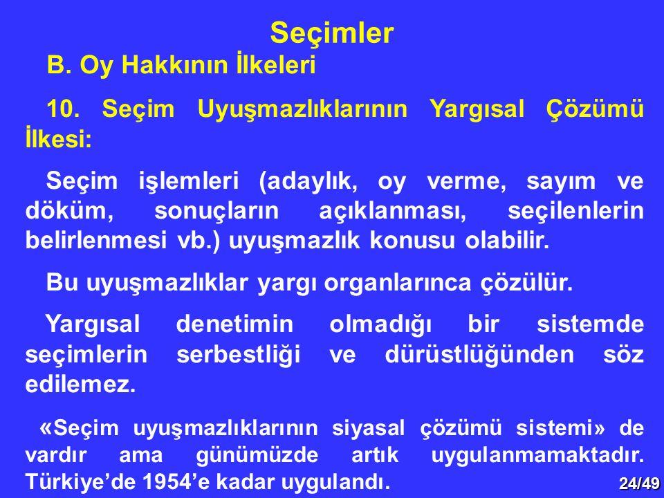 24/49 B.Oy Hakkının İlkeleri 10.