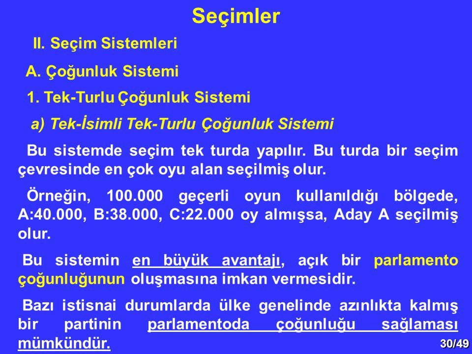 30/49 II.Seçim Sistemleri A. Çoğunluk Sistemi 1.
