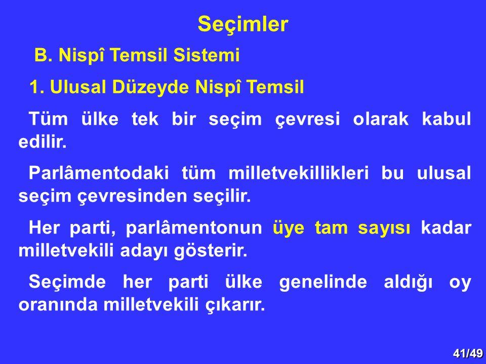 41/49 B. Nispî Temsil Sistemi 1. Ulusal Düzeyde Nispî Temsil Tüm ülke tek bir seçim çevresi olarak kabul edilir. Parlâmentodaki tüm milletvekillikleri