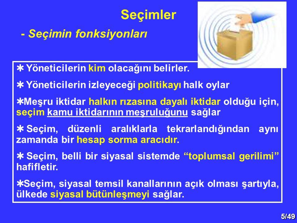 5/49 - Seçimin fonksiyonları  Yöneticilerin kim olacağını belirler.