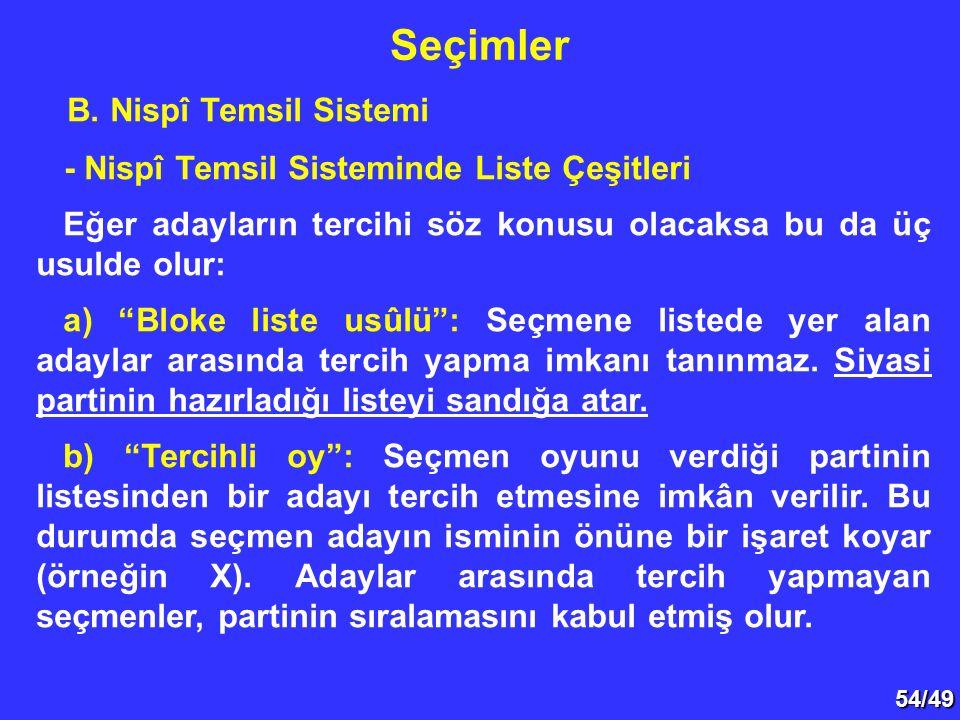"""54/49 B. Nispî Temsil Sistemi - Nispî Temsil Sisteminde Liste Çeşitleri Eğer adayların tercihi söz konusu olacaksa bu da üç usulde olur: a) """"Bloke lis"""