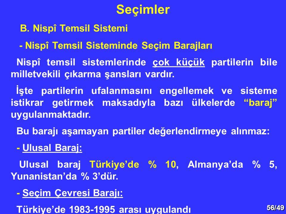 56/49 B. Nispî Temsil Sistemi - Nispî Temsil Sisteminde Seçim Barajları Nispî temsil sistemlerinde çok küçük partilerin bile milletvekili çıkarma şans