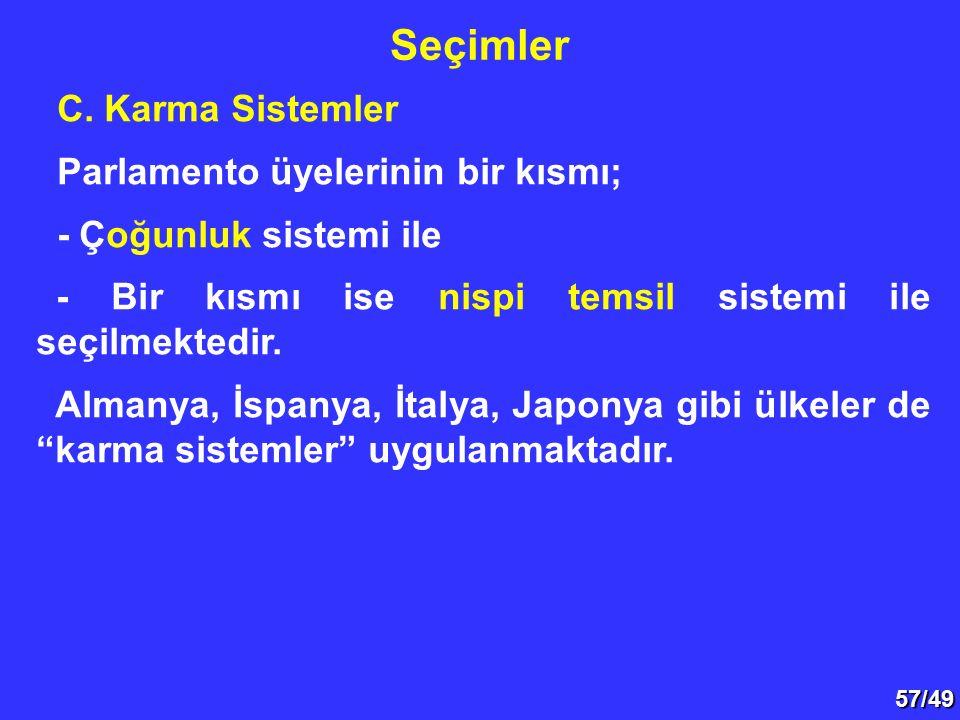 57/49 C. Karma Sistemler Parlamento üyelerinin bir kısmı; - Çoğunluk sistemi ile - Bir kısmı ise nispi temsil sistemi ile seçilmektedir. Almanya, İspa