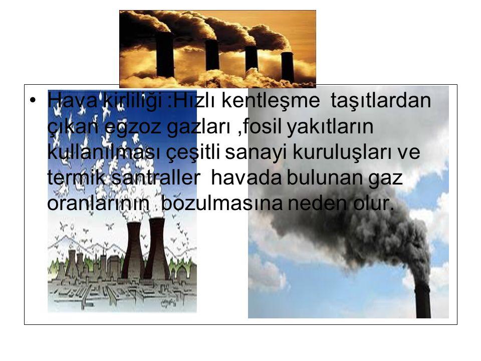 Hava kirliliği :Hızlı kentleşme taşıtlardan çıkan egzoz gazları,fosil yakıtların kullanılması çeşitli sanayi kuruluşları ve termik santraller havada bulunan gaz oranlarının bozulmasına neden olur.