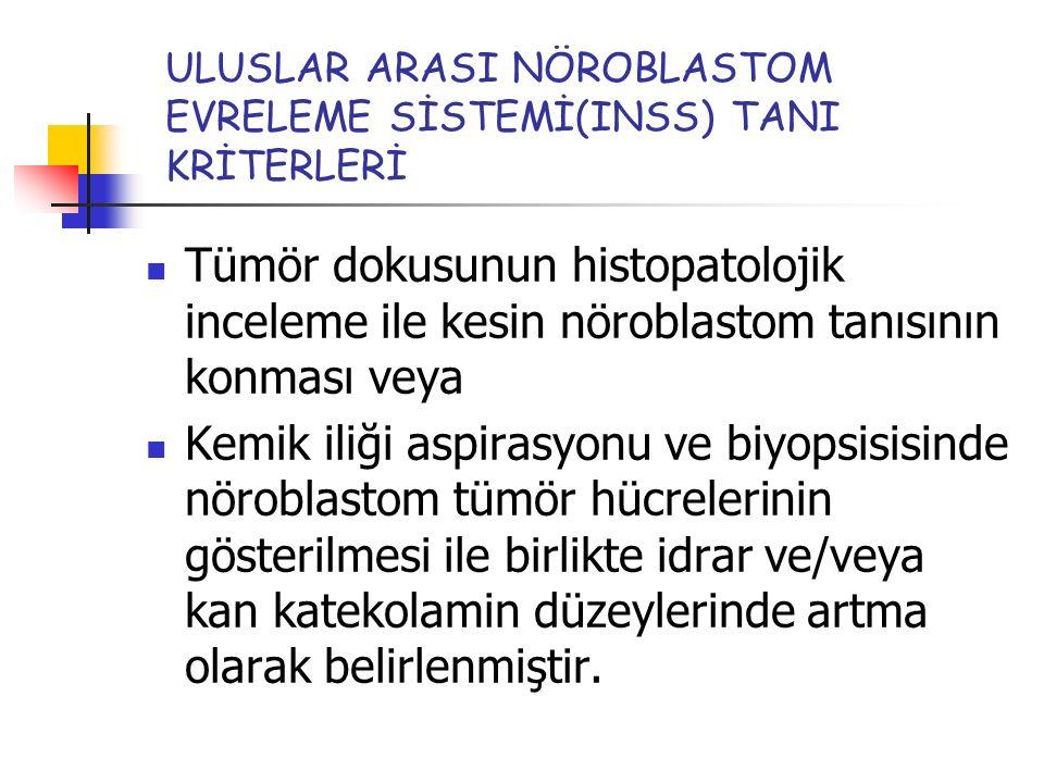 ULUSLAR ARASI NÖROBLASTOM EVRELEME SİSTEMİ(INSS) TANI KRİTERLERİ Tümör dokusunun histopatolojik inceleme ile kesin nöroblastom tanısının konması veya