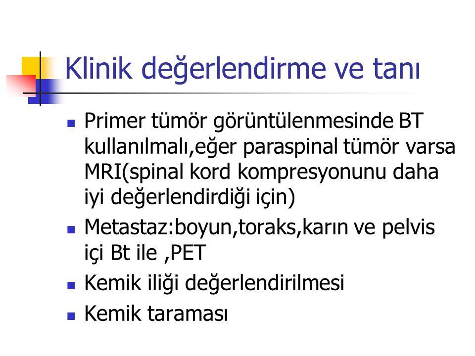 Klinik değerlendirme ve tanı Primer tümör görüntülenmesinde BT kullanılmalı,eğer paraspinal tümör varsa MRI(spinal kord kompresyonunu daha iyi değerlendirdiği için) Metastaz:boyun,toraks,karın ve pelvis içi Bt ile,PET Kemik iliği değerlendirilmesi Kemik taraması