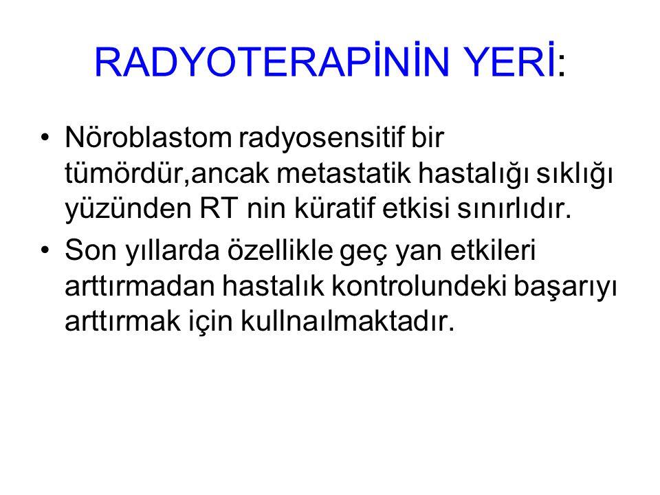 RADYOTERAPİNİN YERİ: Nöroblastom radyosensitif bir tümördür,ancak metastatik hastalığı sıklığı yüzünden RT nin küratif etkisi sınırlıdır.