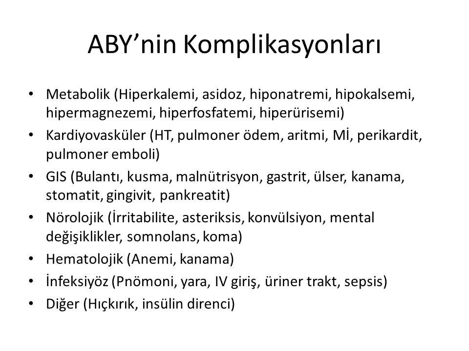 ABY'nin Komplikasyonları Metabolik (Hiperkalemi, asidoz, hiponatremi, hipokalsemi, hipermagnezemi, hiperfosfatemi, hiperürisemi) Kardiyovasküler (HT,