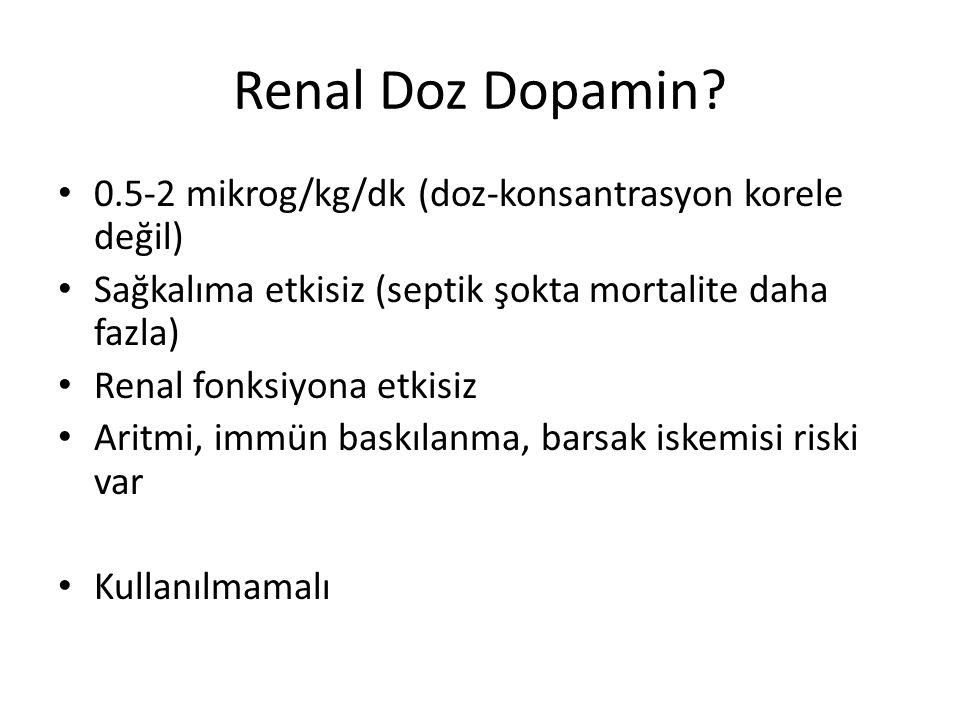 Renal Doz Dopamin? 0.5-2 mikrog/kg/dk (doz-konsantrasyon korele değil) Sağkalıma etkisiz (septik şokta mortalite daha fazla) Renal fonksiyona etkisiz