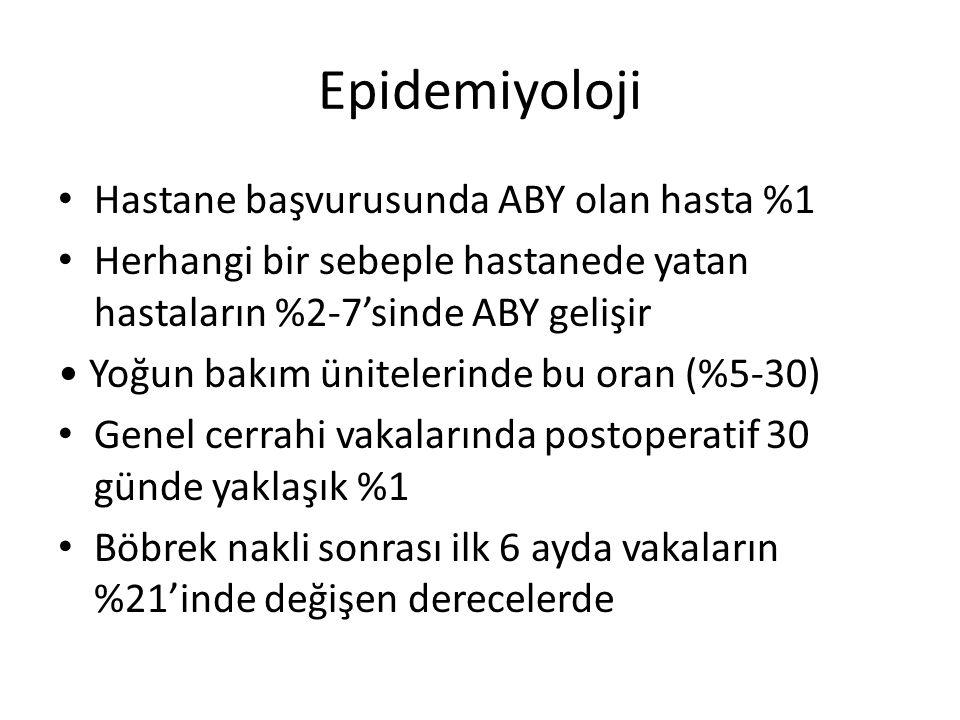 Etyoloji Prerenal (fonksiyonel) ABY: Normal böbreğin azalmış perfüzyonu (%55-60) İntrinsik (yapısal) ABY: Böbreğin kendisindeki patolojik değişiklikler (%35-40) Postrenal (obstrüktif) ABY: İdrarın dışa akım yolunun tıkanması (<%5)
