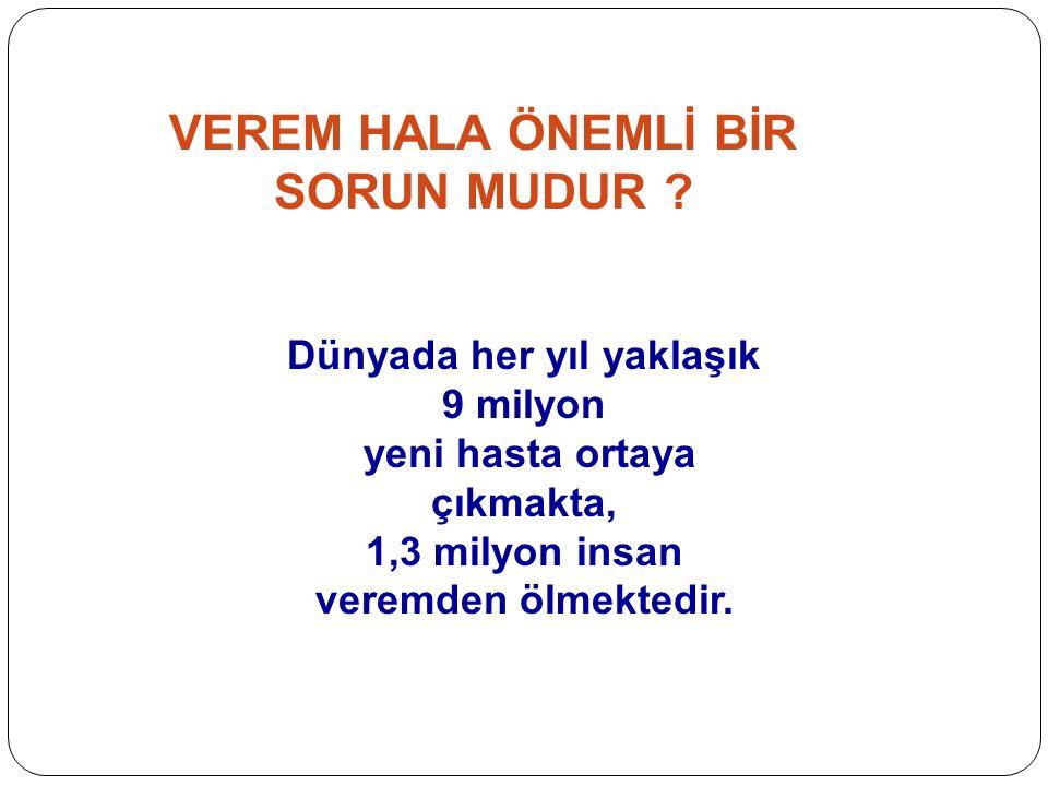Türkiye'nin 2012 yılı toplam verem hasta sayısı: 14.691 Erkek8.727%59 Kadın5.964%41 Akciğer veremi 9.391%64 Akciğer dışı verem 5.300%36 TÜRKİYE DE VEREM