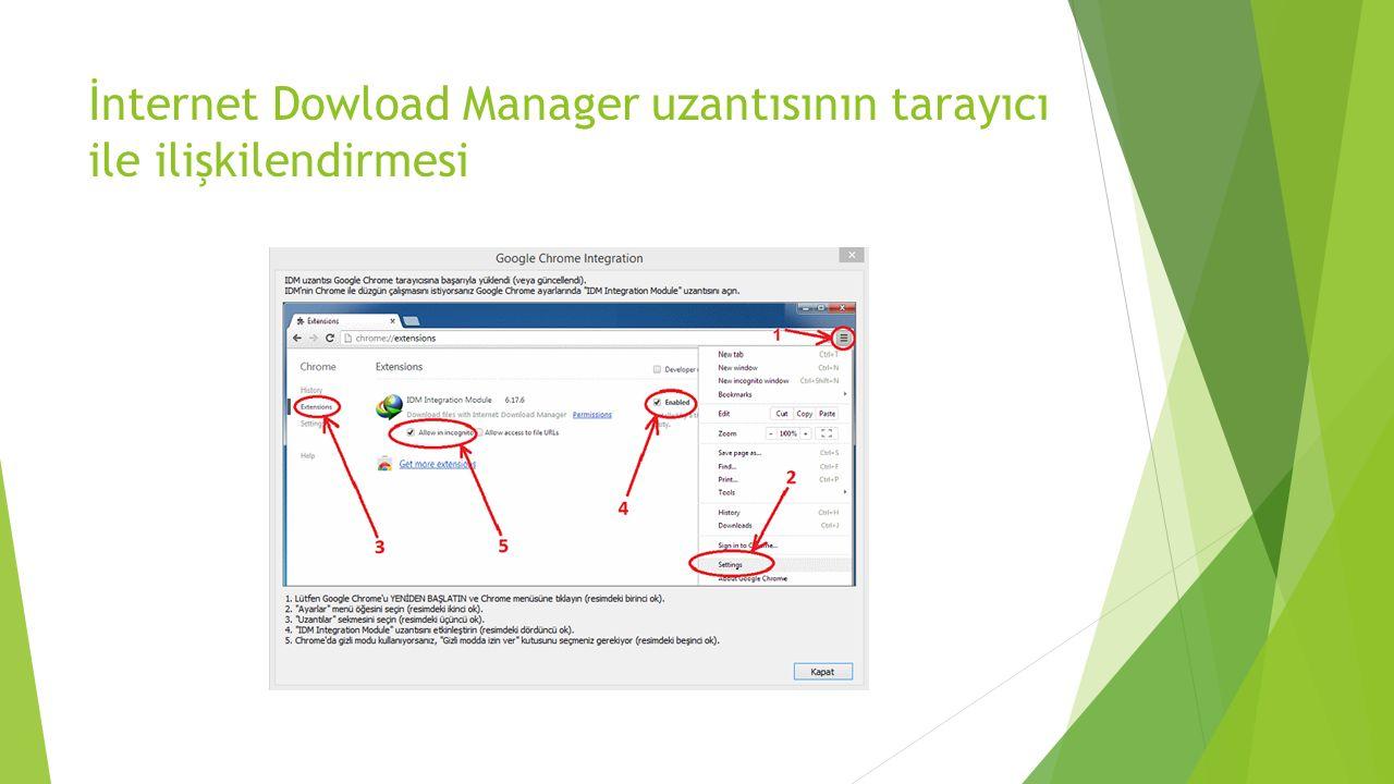 İnternet Dowload Manager uzantısının tarayıcı ile ilişkilendirmesi