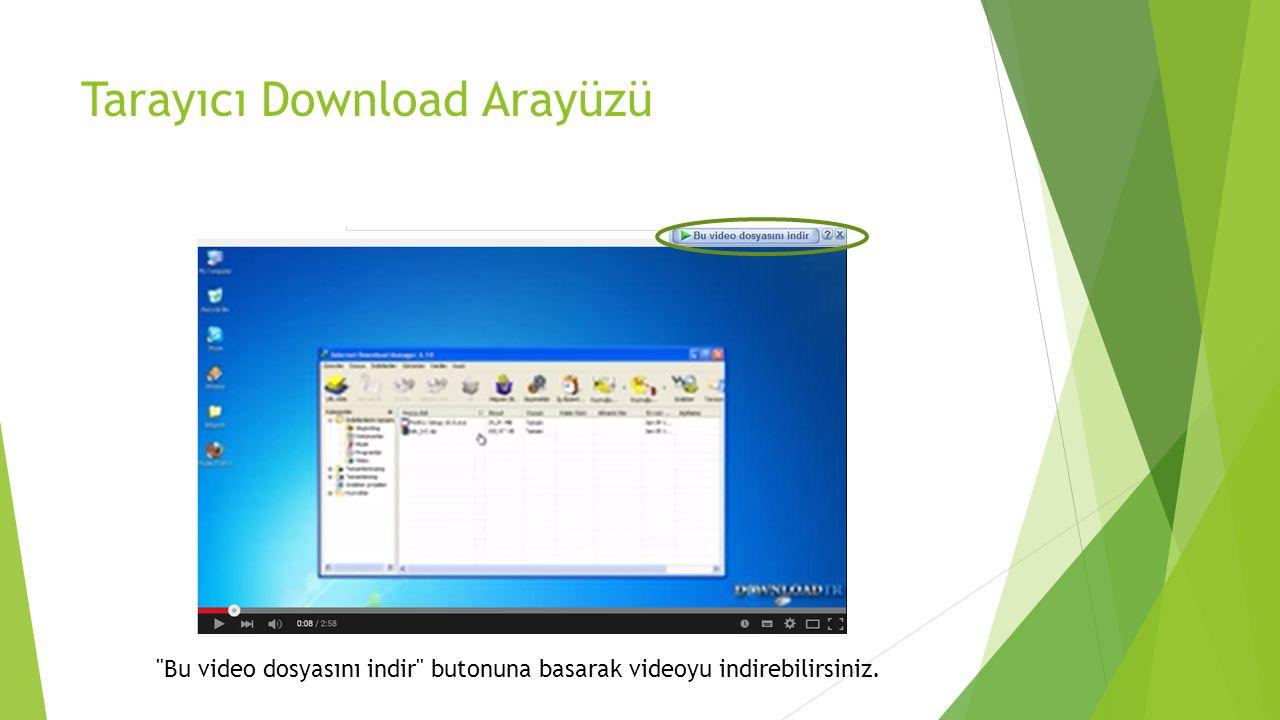 Bu video dosyasını indir butonuna basarak videoyu indirebilirsiniz. Tarayıcı Download Arayüzü