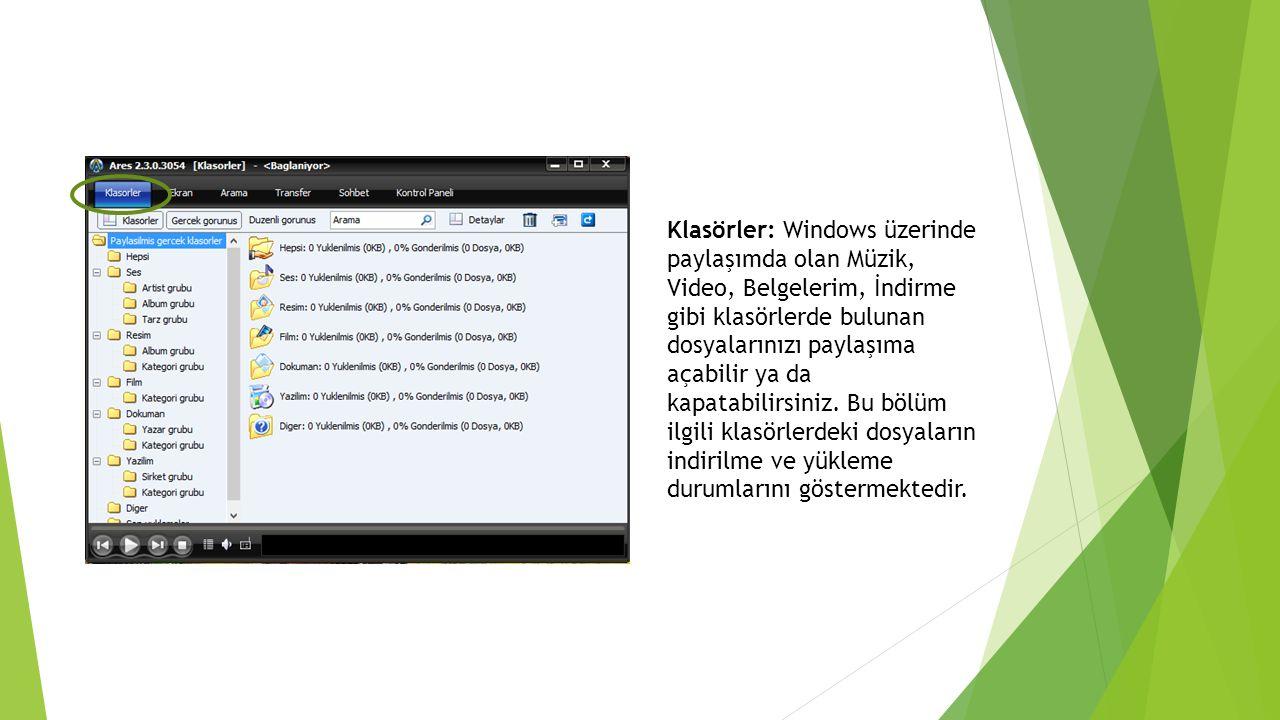Klasörler: Windows üzerinde paylaşımda olan Müzik, Video, Belgelerim, İndirme gibi klasörlerde bulunan dosyalarınızı paylaşıma açabilir ya da kapatabi