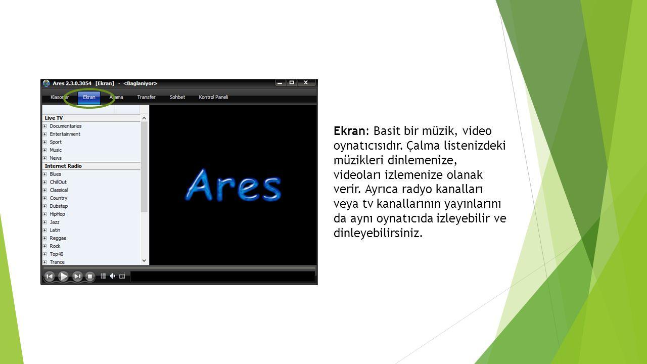 Ekran: Basit bir müzik, video oynatıcısıdır. Çalma listenizdeki müzikleri dinlemenize, videoları izlemenize olanak verir. Ayrıca radyo kanalları veya
