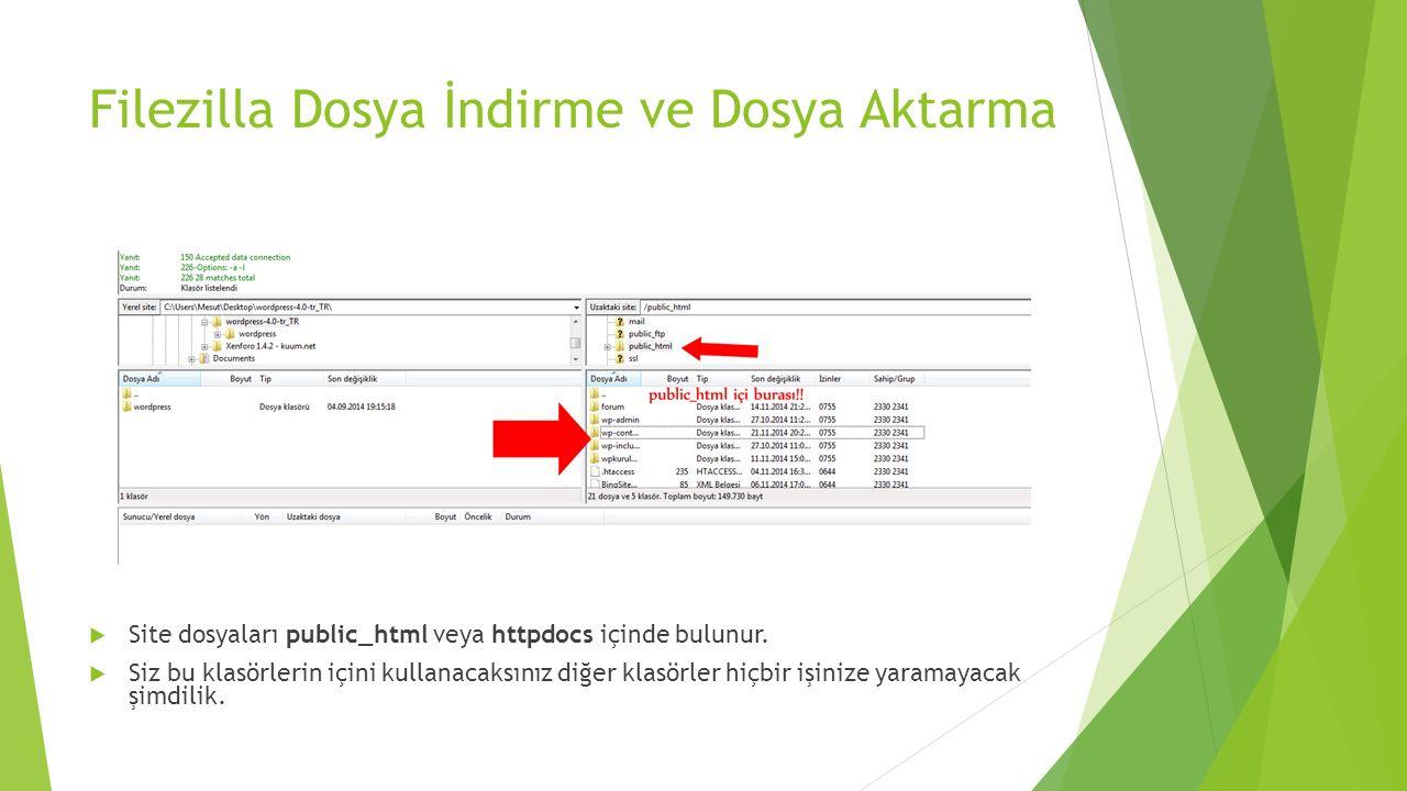 Filezilla Dosya İndirme ve Dosya Aktarma  Site dosyaları public_html veya httpdocs içinde bulunur.  Siz bu klasörlerin içini kullanacaksınız diğer k
