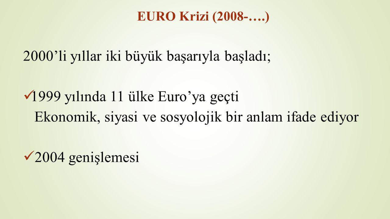 EURO Krizi (2008-….) 2000'li yıllar iki büyük başarıyla başladı; 1999 yılında 11 ülke Euro'ya geçti Ekonomik, siyasi ve sosyolojik bir anlam ifade ediyor 2004 genişlemesi