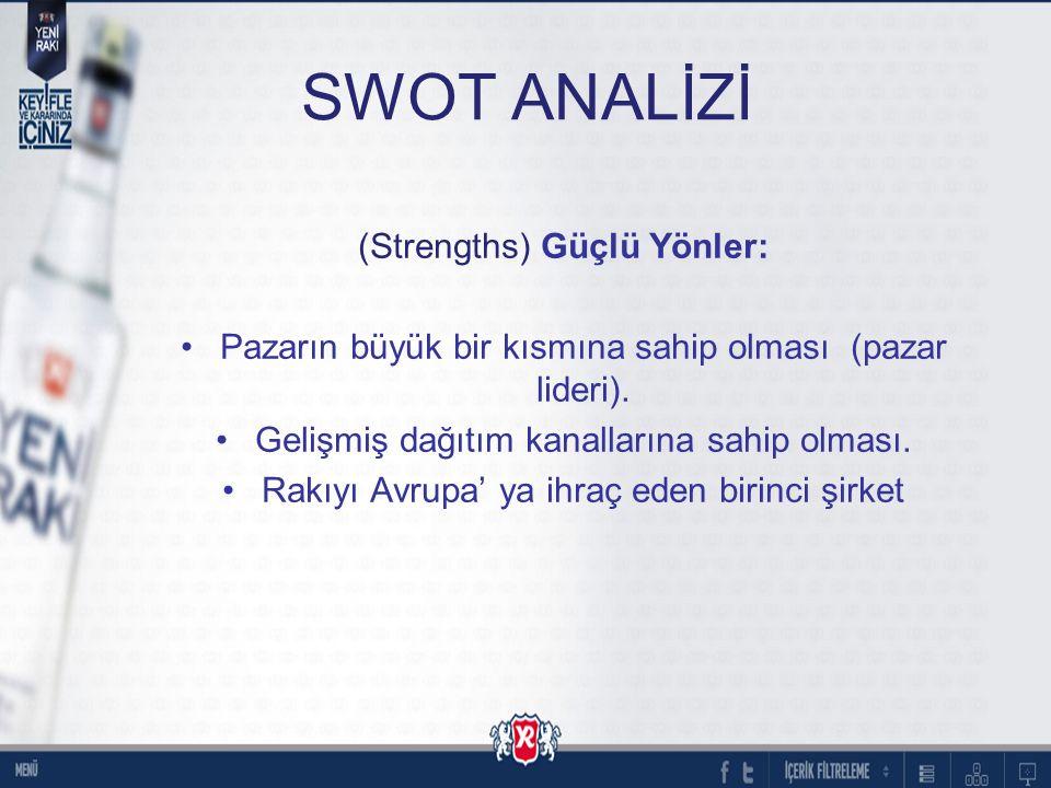 SWOT ANALİZİ (Strengths) Güçlü Yönler: Pazarın büyük bir kısmına sahip olması (pazar lideri). Gelişmiş dağıtım kanallarına sahip olması. Rakıyı Avrupa