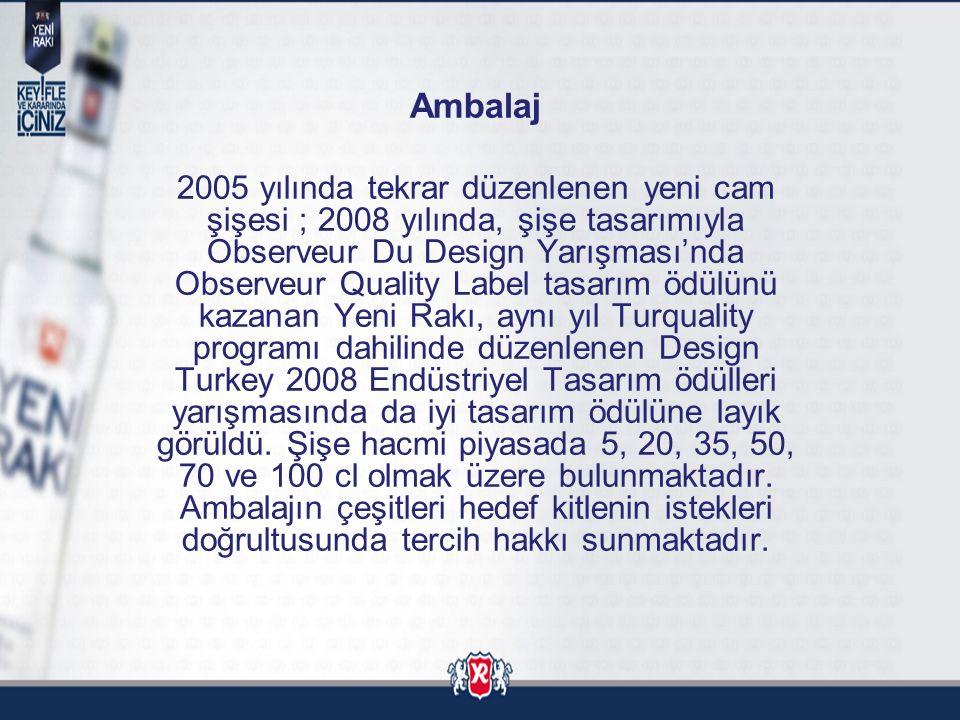 Ambalaj 2005 yılında tekrar düzenlenen yeni cam şişesi ; 2008 yılında, şişe tasarımıyla Observeur Du Design Yarışması'nda Observeur Quality Label tasa
