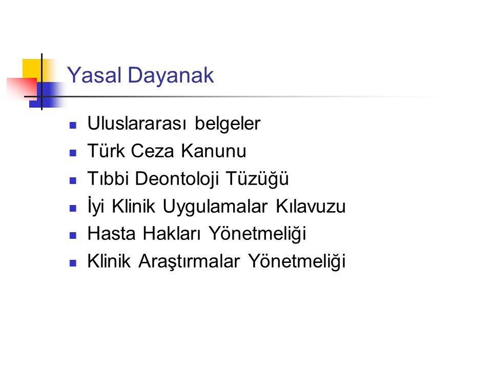 Yasal Dayanak Uluslararası belgeler Türk Ceza Kanunu Tıbbi Deontoloji Tüzüğü İyi Klinik Uygulamalar Kılavuzu Hasta Hakları Yönetmeliği Klinik Araştırm
