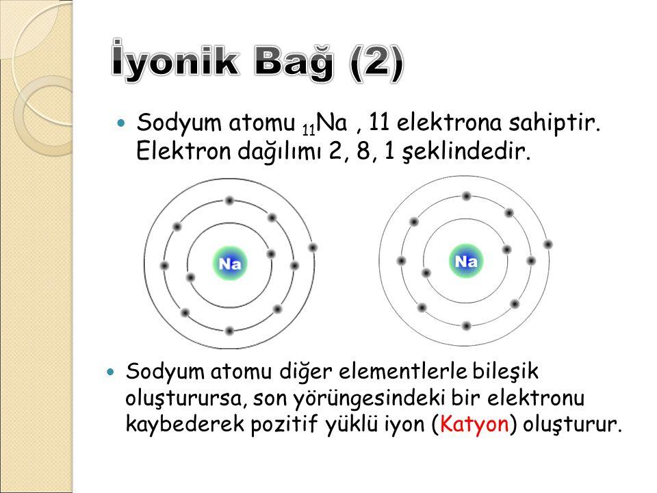 Sodyum atomu 11 Na, 11 elektrona sahiptir. Elektron dağılımı 2, 8, 1 şeklindedir. Sodyum atomu diğer elementlerle bileşik oluşturursa, son yörüngesind