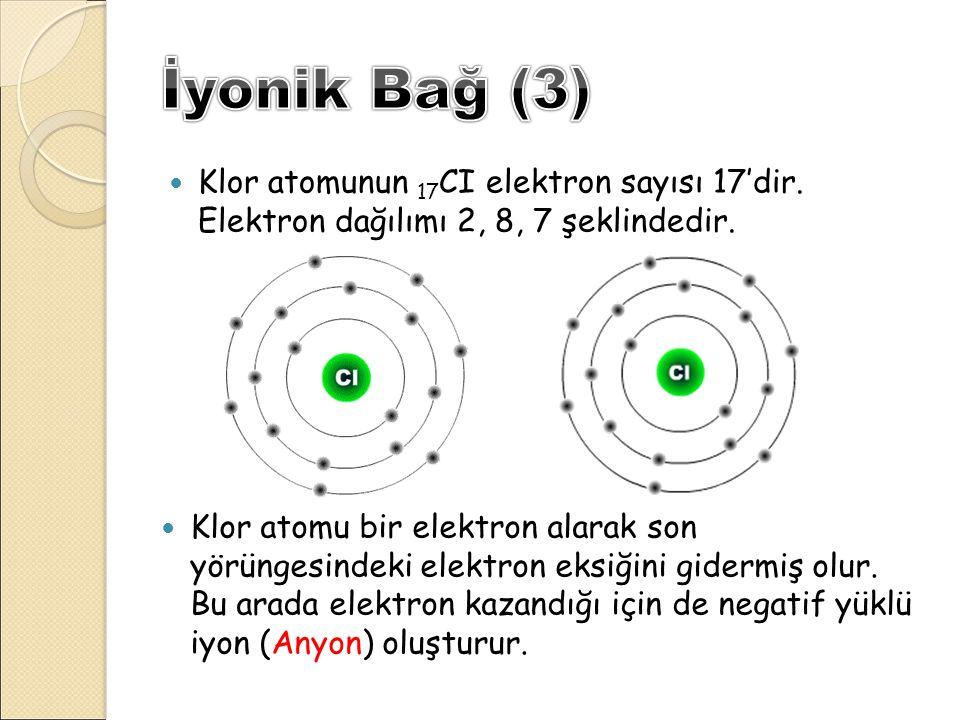 Klor atomunun 17 CI elektron sayısı 17'dir. Elektron dağılımı 2, 8, 7 şeklindedir. Klor atomu bir elektron alarak son yörüngesindeki elektron eksiğini