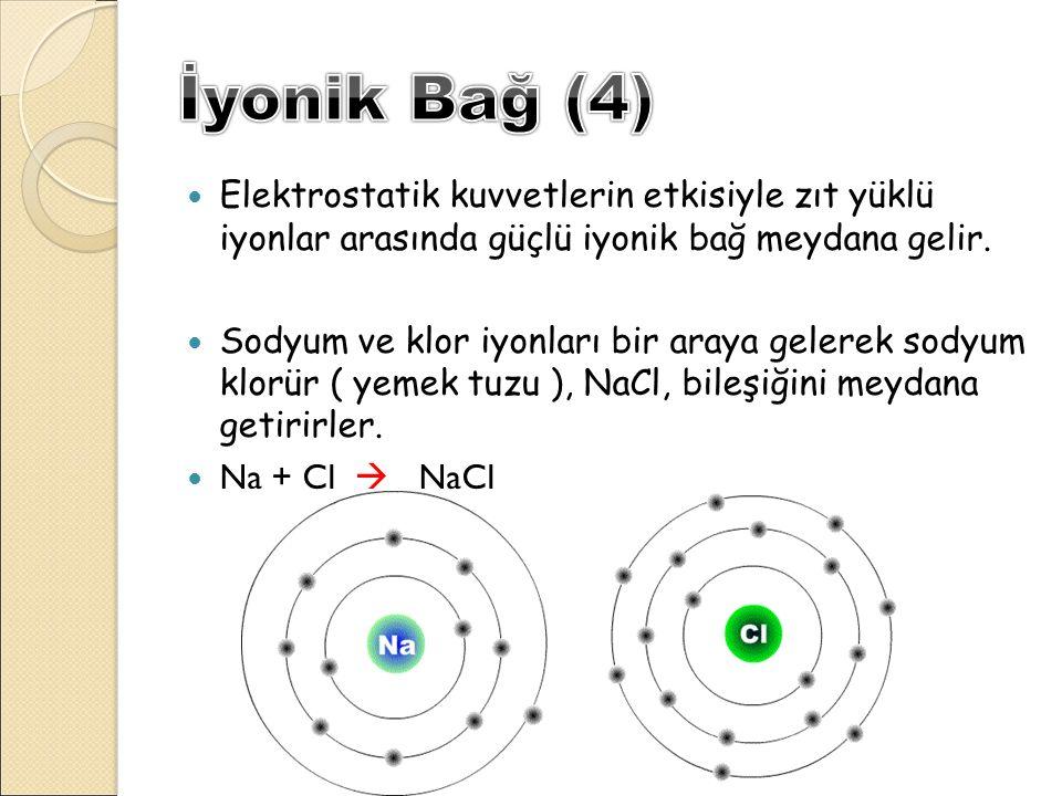 Elektrostatik kuvvetlerin etkisiyle zıt yüklü iyonlar arasında güçlü iyonik bağ meydana gelir. Sodyum ve klor iyonları bir araya gelerek sodyum klorür