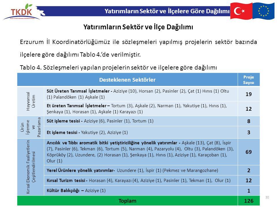 Erzurum İl Koordinatörlüğümüz ile sözleşmeleri yapılmış projelerin sektör bazında ilçelere göre dağılımı Tablo 4.'de verilmiştir. Yatırımların Sektör