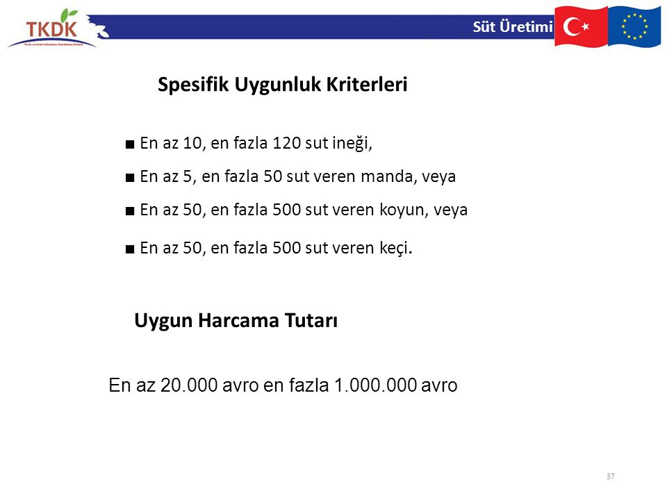Süt Üretimi 37 ■ En az 10, en fazla 120 sut ineği, ■ En az 5, en fazla 50 sut veren manda, veya ■ En az 50, en fazla 500 sut veren koyun, veya ■ En az