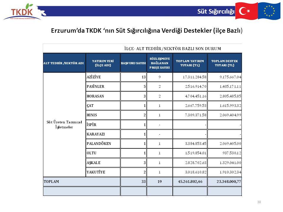 Süt Sığırcılığı 38 Erzurum'da TKDK 'nın Süt Sığırcılığına Verdiği Destekler (ilçe Bazlı)
