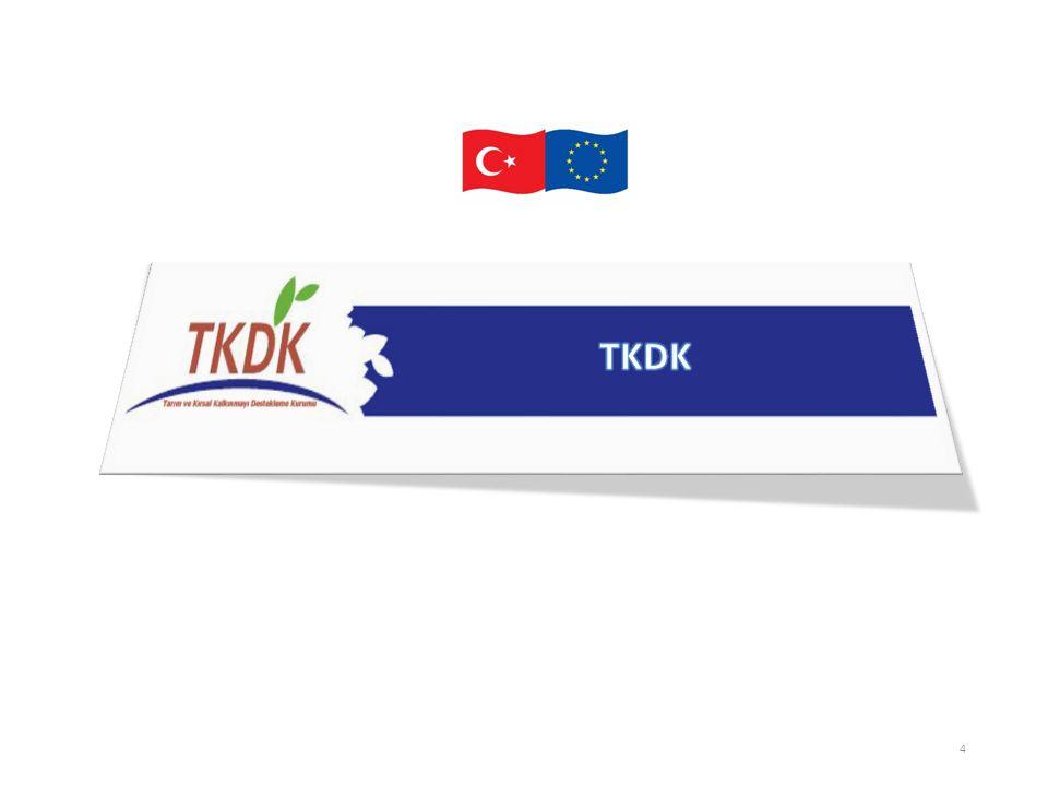 Tarım ve Kırsal Kalkınmayı Destekleme Kurumu (TKDK) Gıda Tarım ve Hayvancılık Bakanlığının ilgili kuruluşu olarak 5648 sayılı kanunla 2007 yılında kurulmuştur.