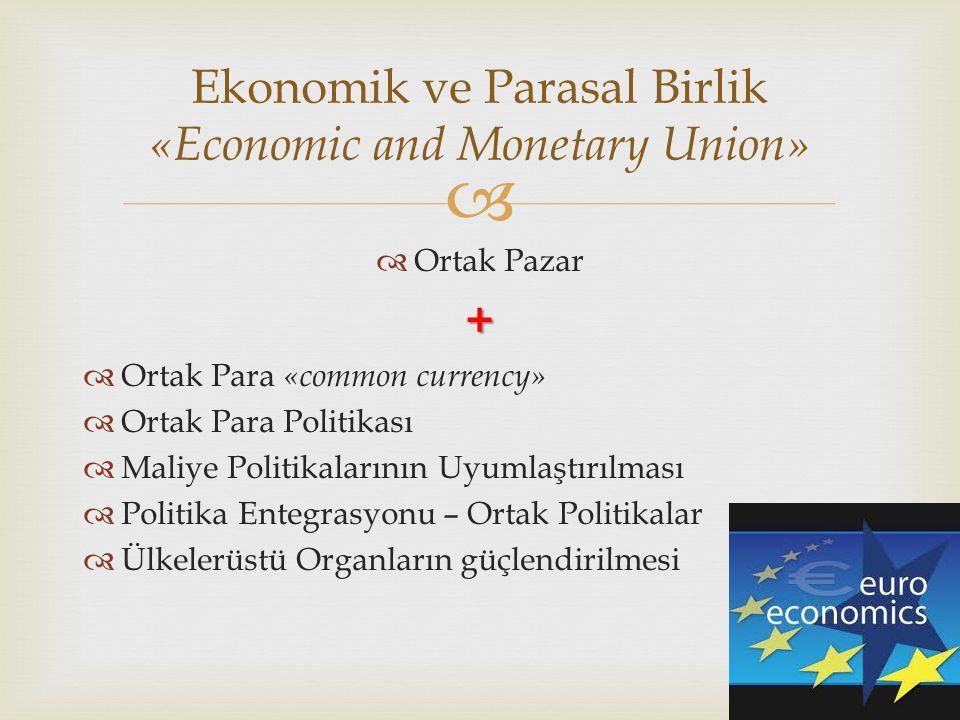   Ortak Pazar+  Ortak Para «common currency»  Ortak Para Politikası  Maliye Politikalarının Uyumlaştırılması  Politika Entegrasyonu – Ortak Politikalar  Ülkelerüstü Organların güçlendirilmesi Ekonomik ve Parasal Birlik «Economic and Monetary Union»
