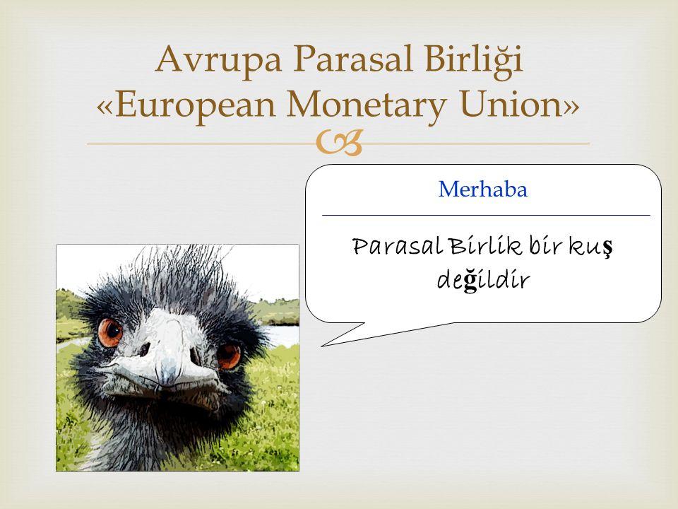  Avrupa Parasal Birliği «European Monetary Union» Merhaba Parasal Birlik bir ku ş de ğ ildir